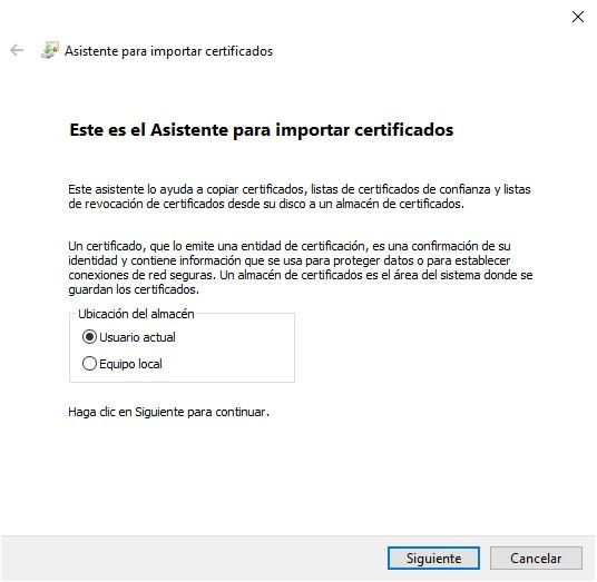 Cómo instalar certificados digitales en Windows 10 2