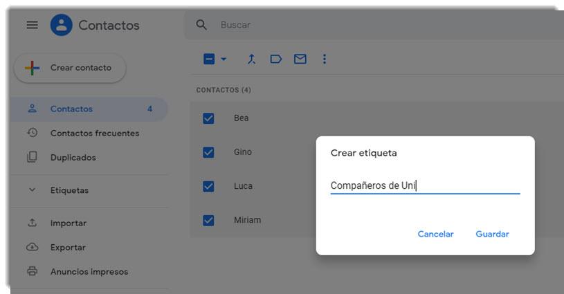 Cómo crear grupos de contactos en Gmail 3