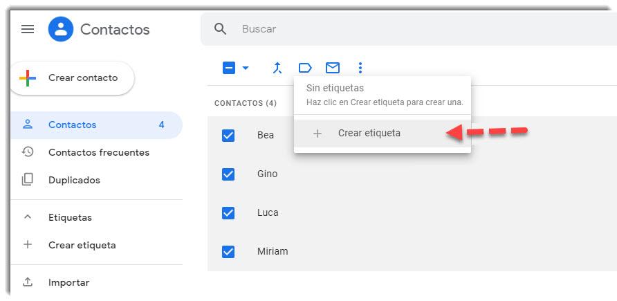 Cómo crear grupos de contactos en Gmail 2