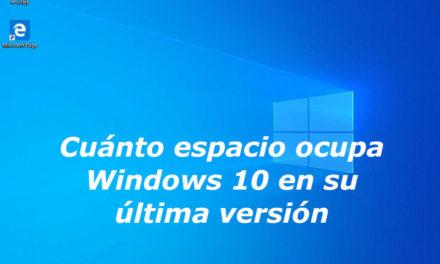 Cuánto espacio ocupa la instalación de Windows 10