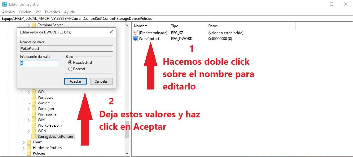 desactivar la protección contra la escritura en Windows 10 6