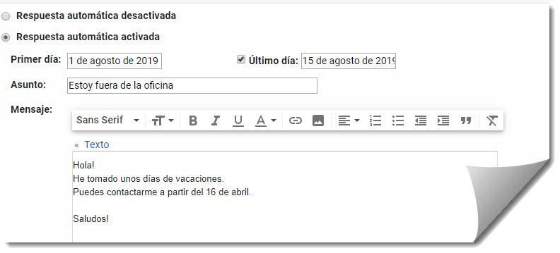 Cómo personalizar las respuestas automáticas de Gmail 3