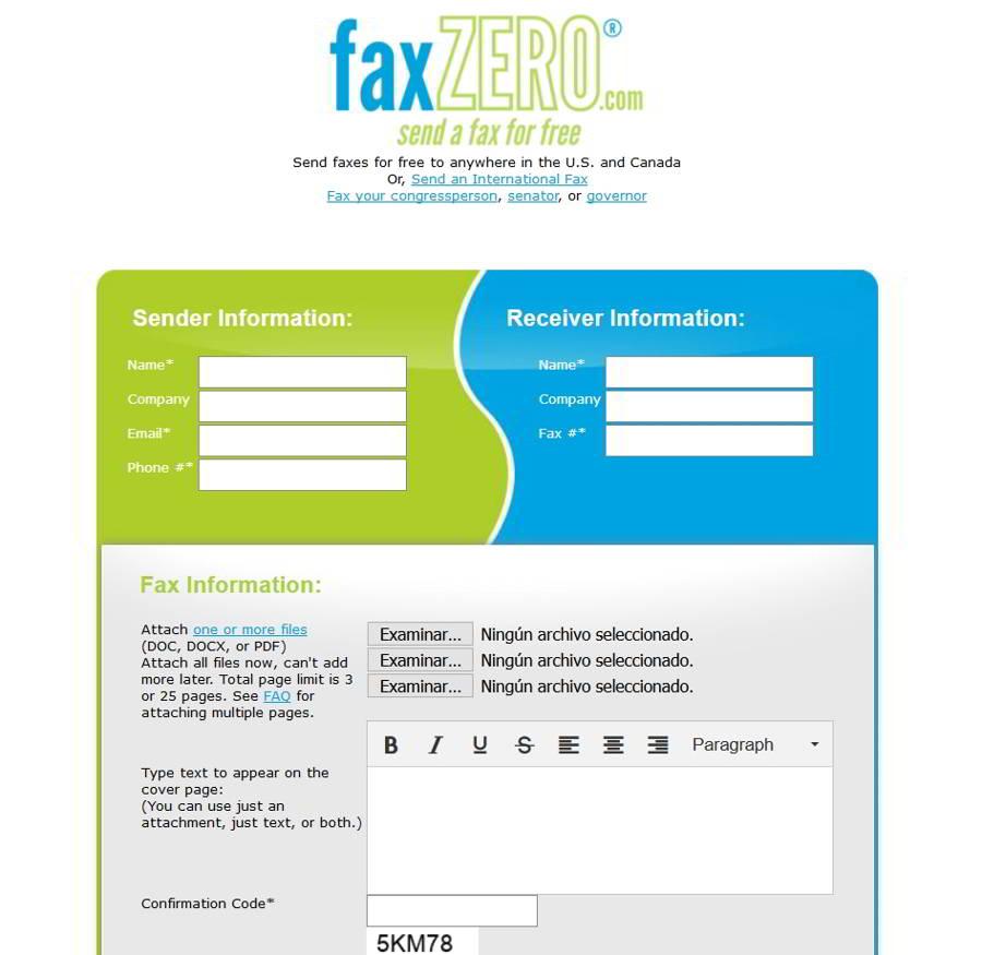 Fax online gratis Fax Zero