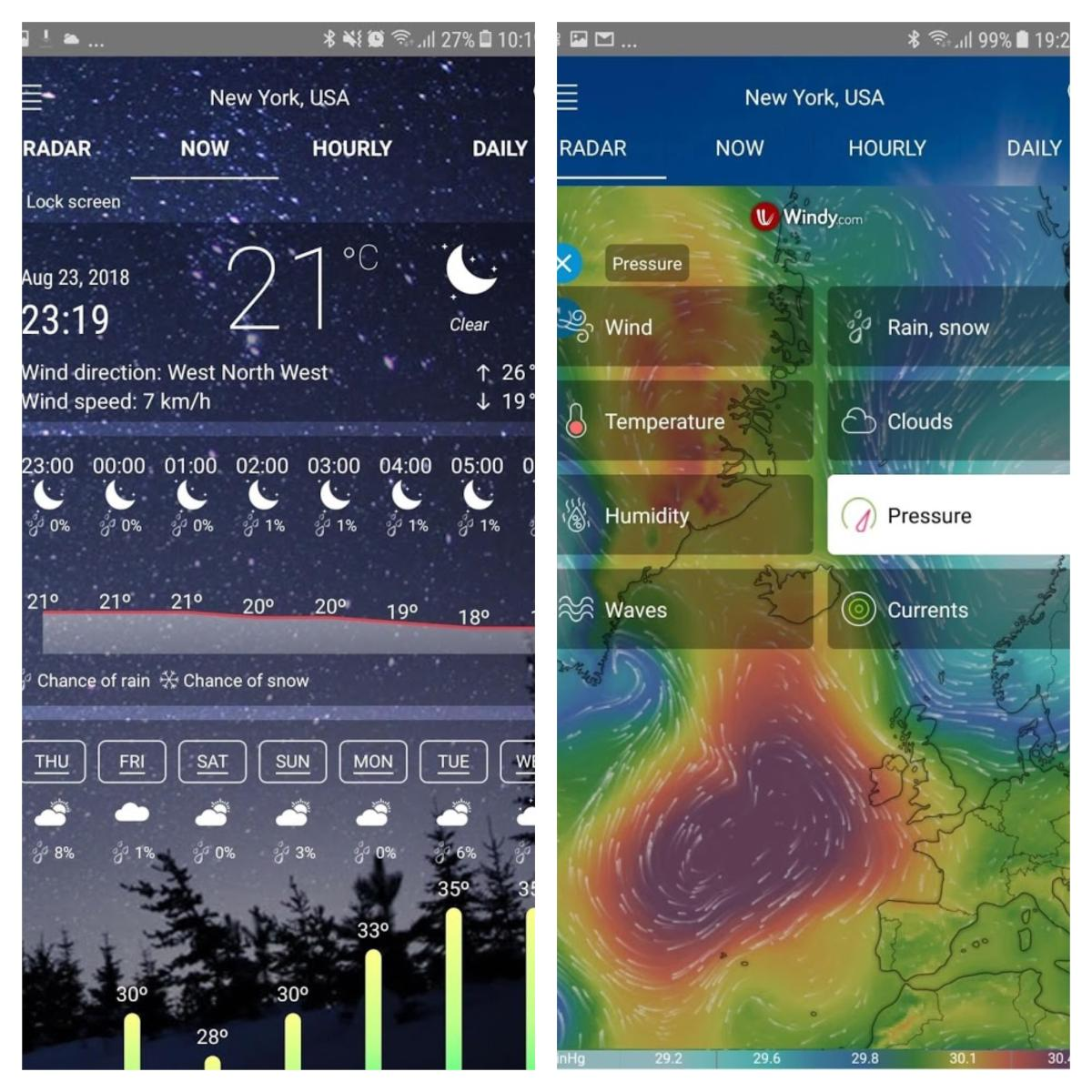 Radar meteorológico aplicación