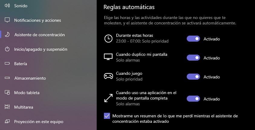 Cómo usar el asistente de concentración de Windows 10 3