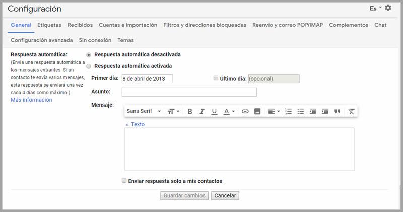 Cómo personalizar las respuestas automáticas de Gmail 2