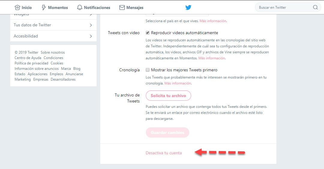 Cómo eliminar una cuenta de Twitter 2