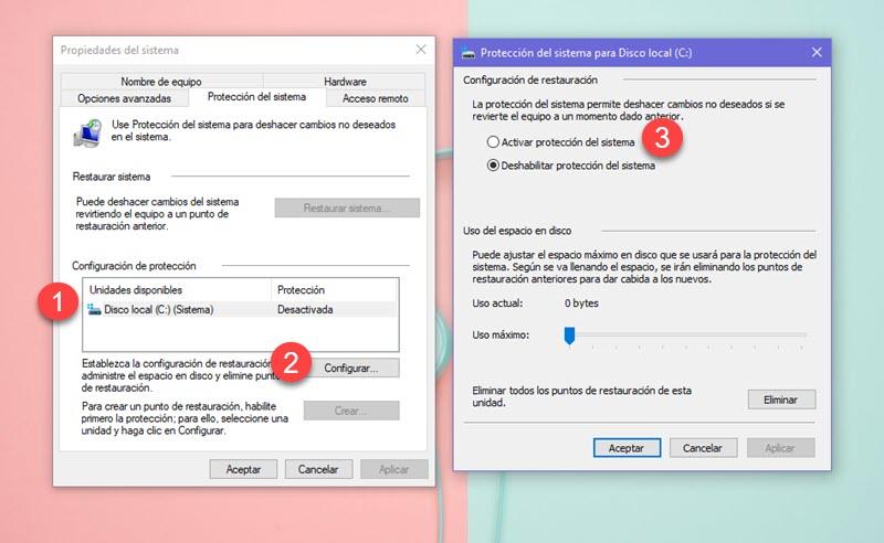 Cómo crear un punto de restauración en Windows 10 3