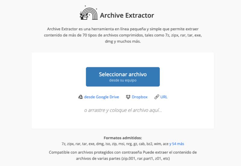 Archive Extractor herramienta para comprimir archivos