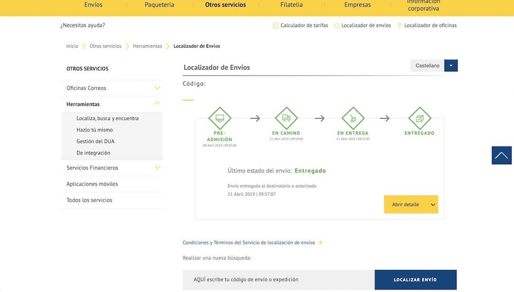 codigo de seguimiento ebay pedido