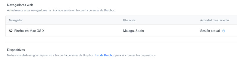 Desconectar dispositivos de Dropbox