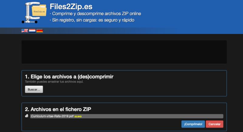 Herramienta para comprimir archivos Files2Zip