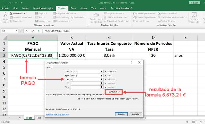 Cómo usar fórmulas financieras en Excel 3