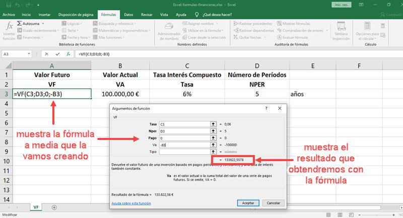 Cómo usar fórmulas financieras en Excel 2