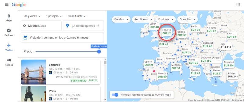 Cómo buscar los vuelos y hoteles más baratos en Google 5