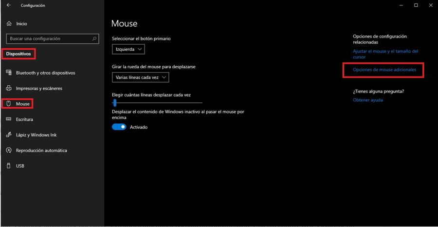 Ajusta la velocidad del ratón desde Windows 10