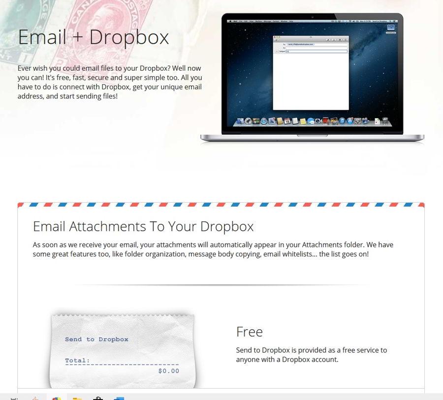 Almacenar adjuntos del correo con Send to Dropbox