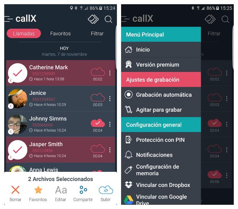 Callx grabar llamadas