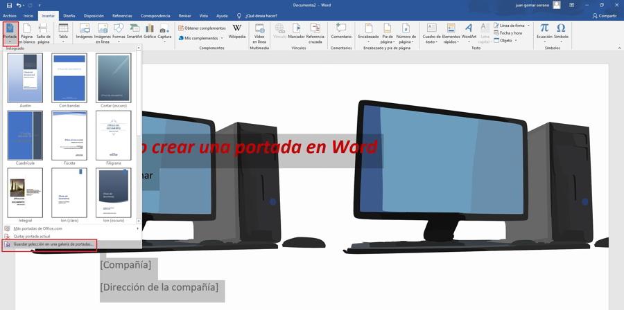 Como hacer una portada personalizada en Word 2