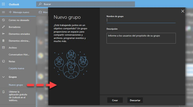 Cómo crear grupos de trabajo en Outlook 2