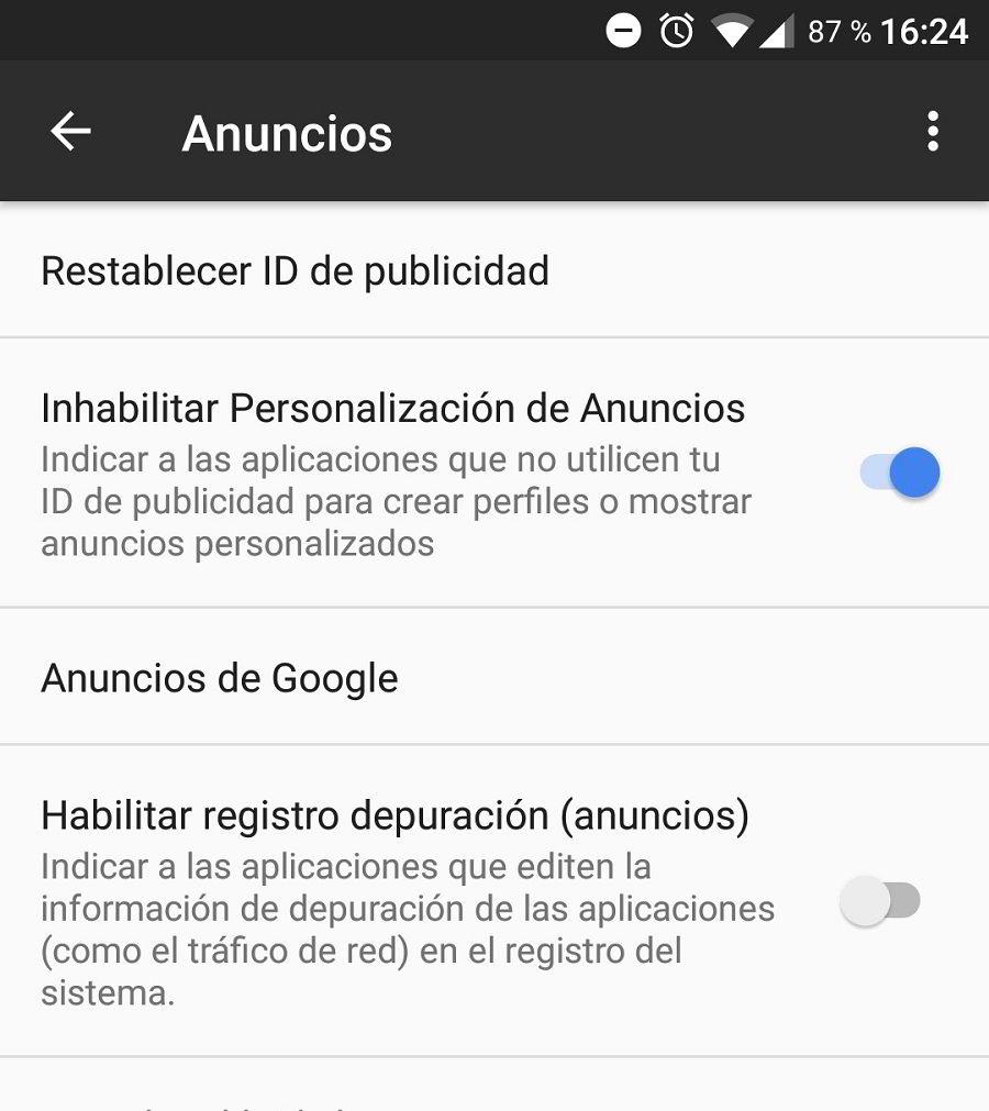 Desactiva los anuncios personalizados de Google
