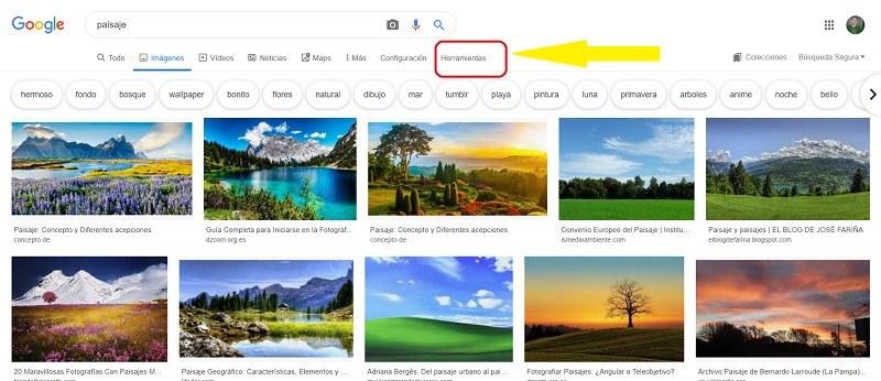 Cómo buscar imágenes por colores con Google Imágenes 1