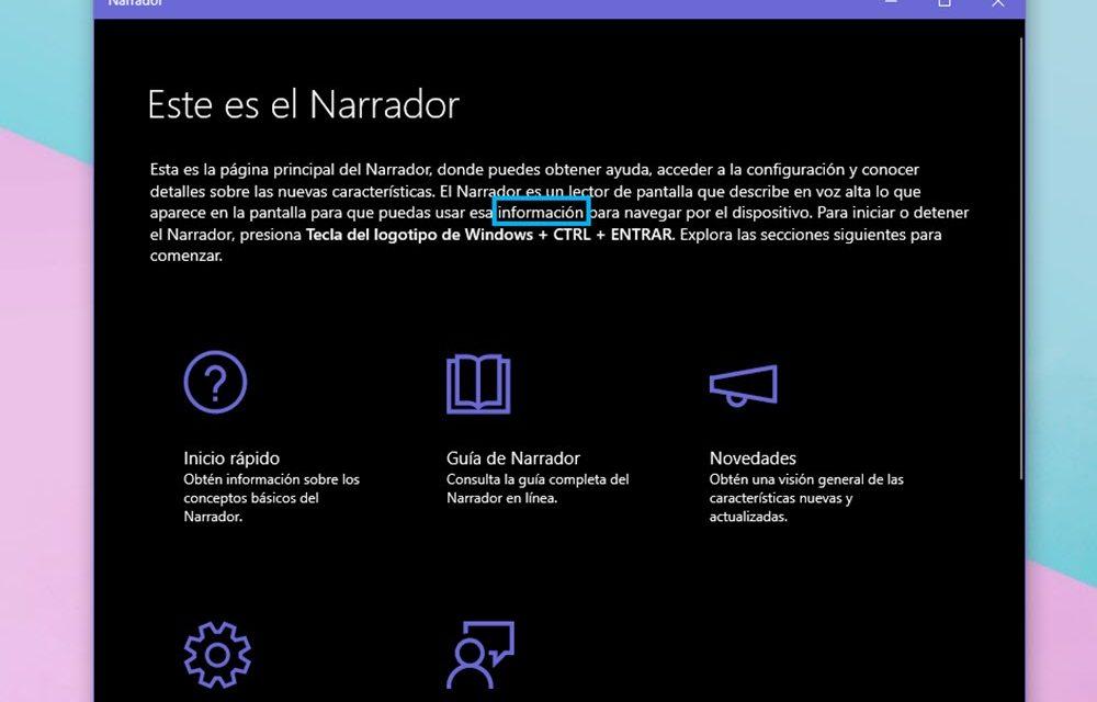 Cómo utilizar el Narrador de Windows 10