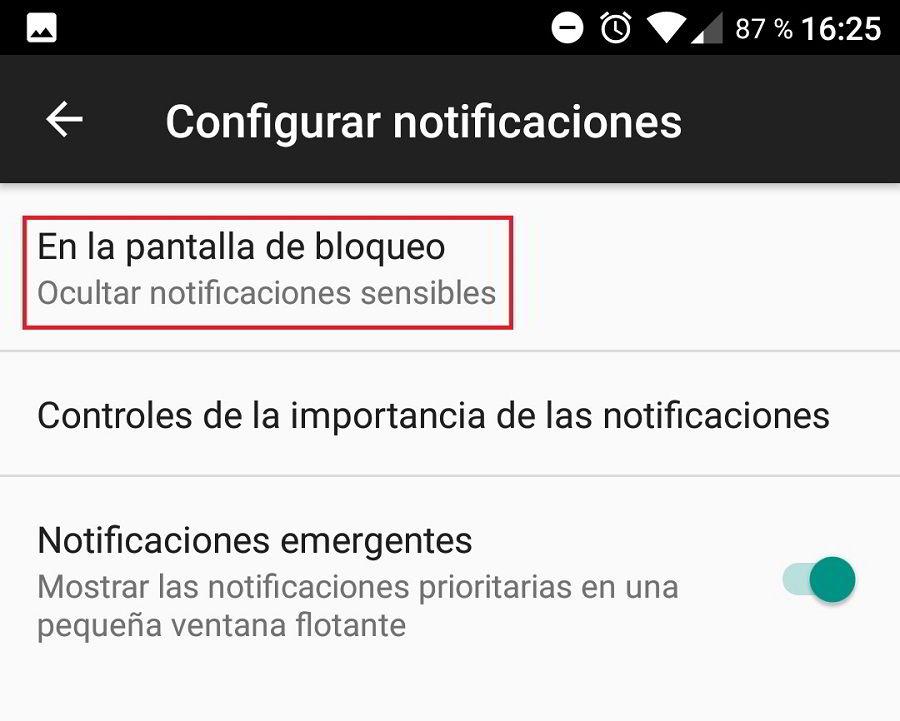 Ocultar el contenido de las notificaciones