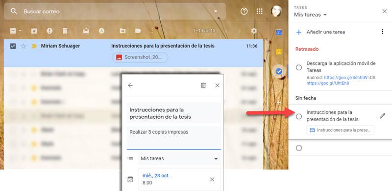 Cómo crear una lista de tareas con correos de Gmail 3
