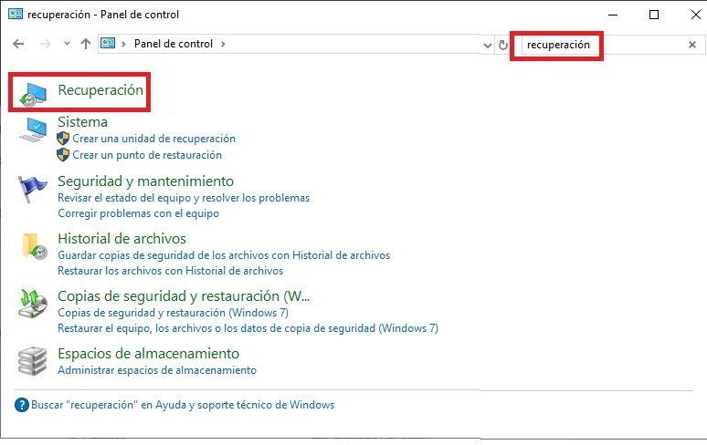 restaurar Windows 10 para volver a un estado anterior 2