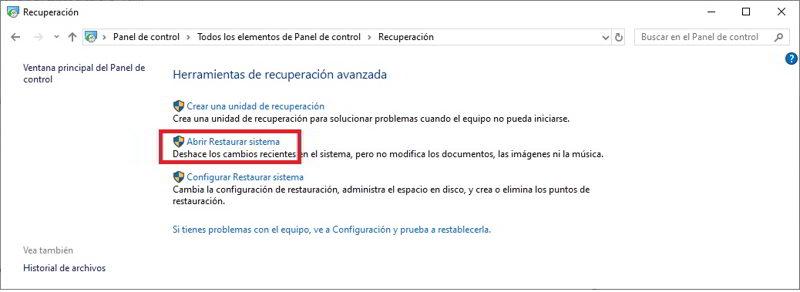restaurar Windows 10 para volver a un estado anterior 3