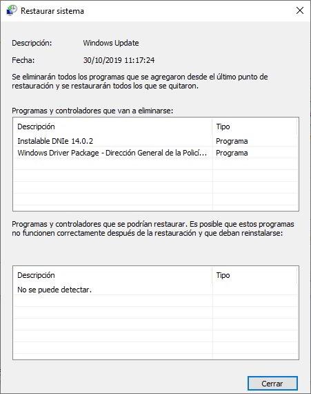 restaurar Windows 10 para volver a un estado anterior 5