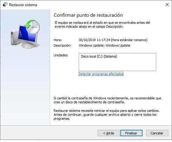 restaurar Windows 10 para volver a un estado anterior 6