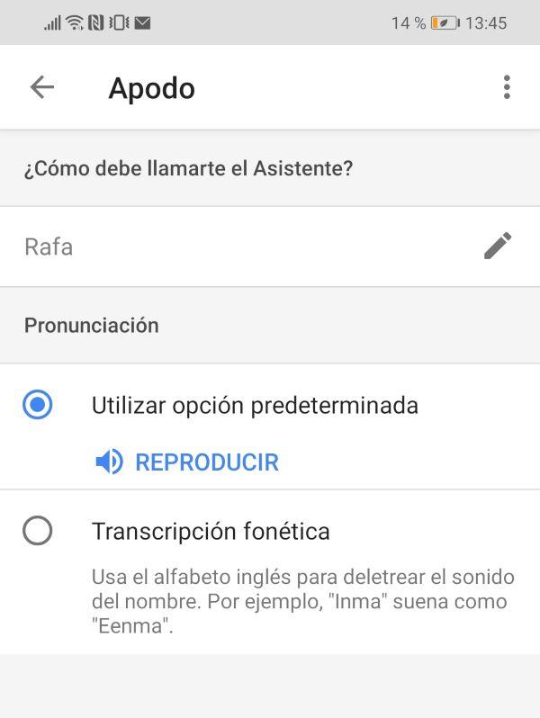 Configurar asistente Google