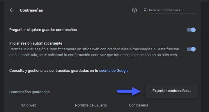 Cómo exportar contraseñas guardadas en Google Chrome 3