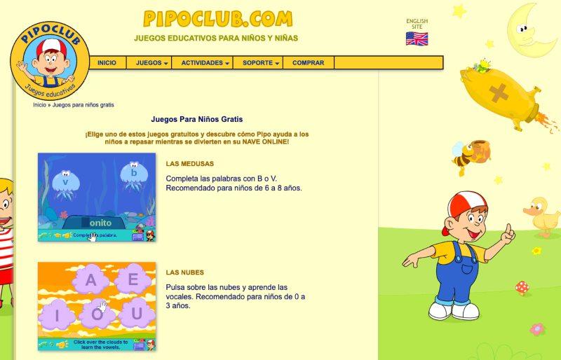 Juegos educativos pipoclub
