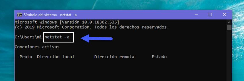 Cómo ver los puertos abiertos en Windows 10 3