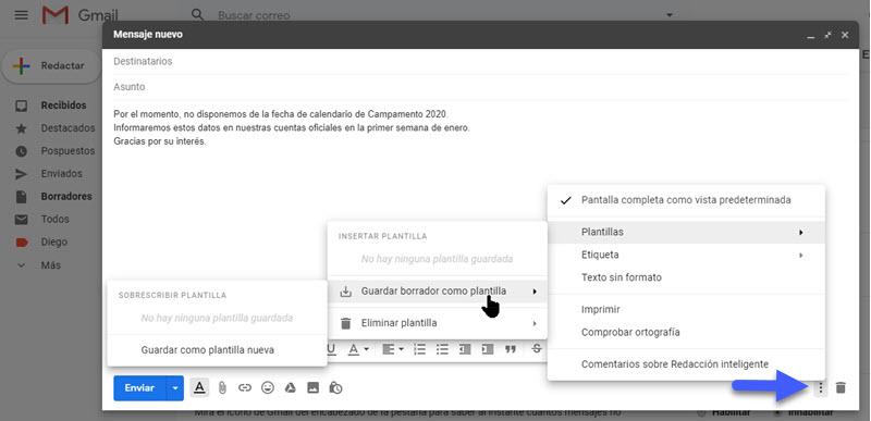 Cómo crear plantillas personalizadas de correo en Gmail 3
