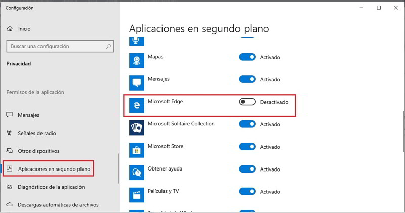 Desactiva Microsoft Edge en segundo plano 3