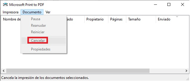 eliminar documento cola impresion windows 3
