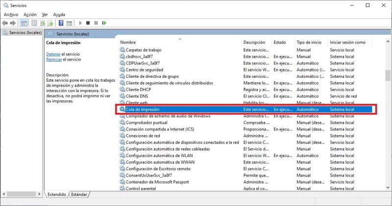 eliminar documento cola impresion windows 5