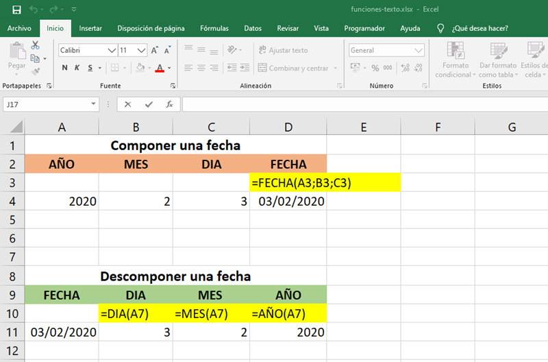 Funciones para trabajar con fechas en Excel 3