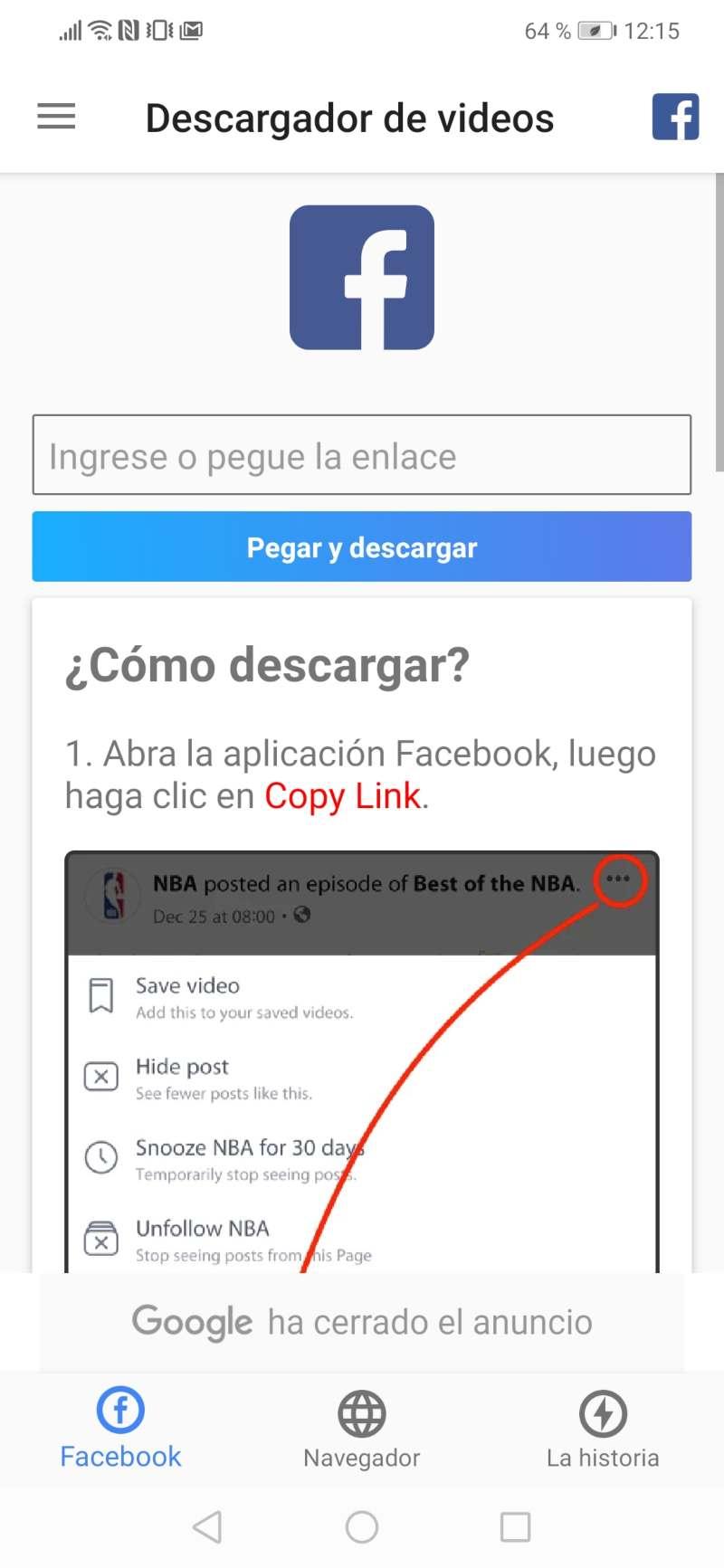 Descargar video facebook