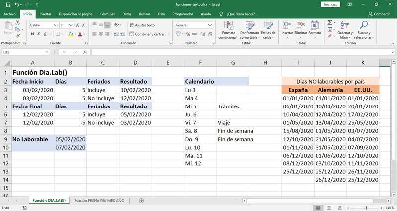 Funciones para trabajar con fechas en Excel 2
