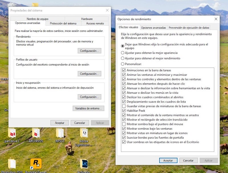 desactivar animaciones windows 10 3