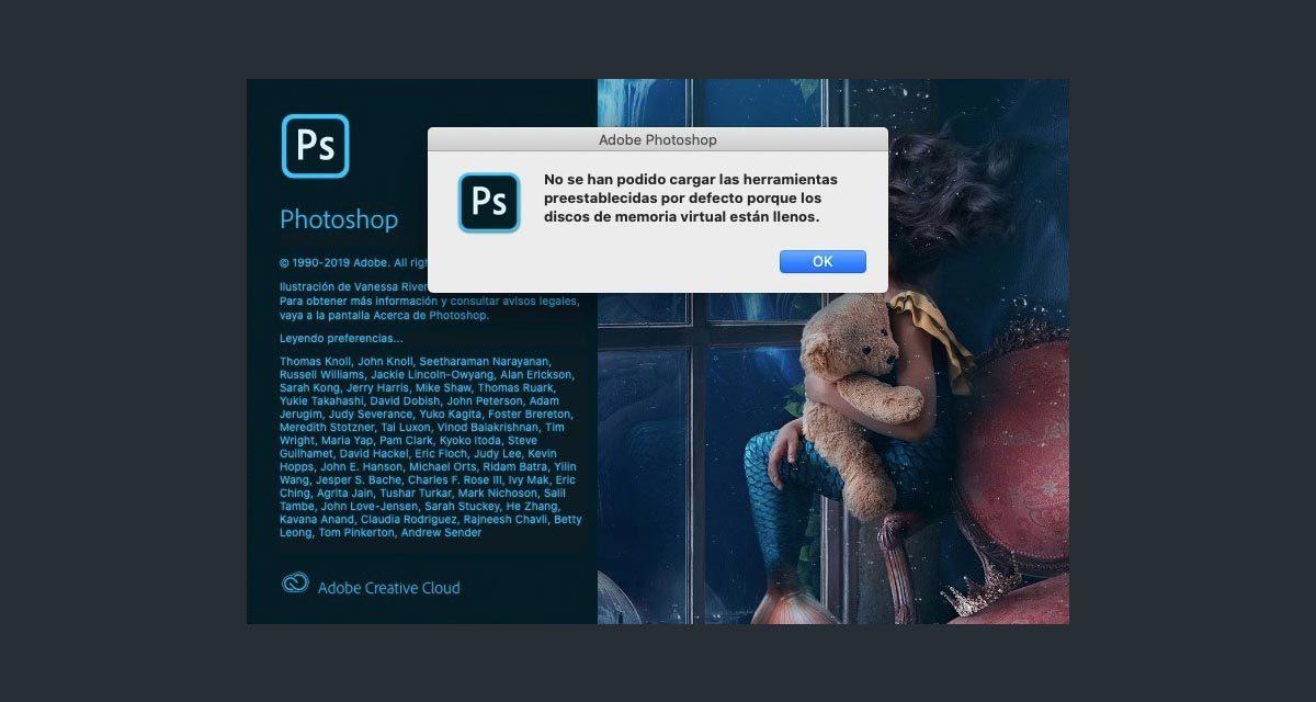 """Cómo solucionar el error """"Los discos de memoria virtual están llenos"""" en Photoshop"""
