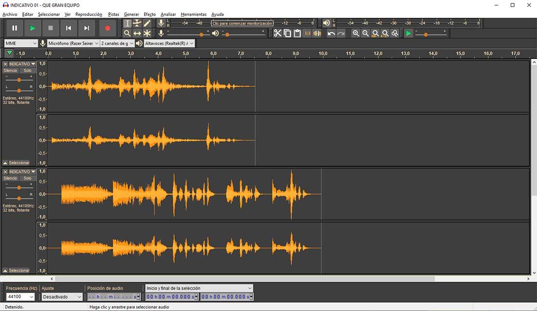 Cómo editar audio con varias pistas con Audacity